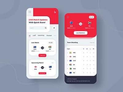 Live Sport App Design creation dribbble ux design ui app development company app developers app concept app ui sport app design app designer live sport app cricket cricket app live sport