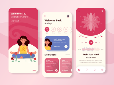 Meditation App Design media ui ux design user interface design userinterface app development company app designers dribbble app designer design app development ui ux app ui app concept app design mobile app design mindfulness calmness meditate meditation meditation app