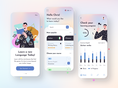 Language Learning Mobile App mobile apps application ui application ui designer language learning language app dribbble app designers app designer app concept app development app design ux ui