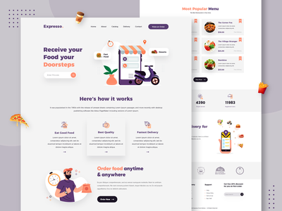Food Delivery Landing Page Design app designer ux app concept app development app design design landing page design landing design web app design food delivery application food delivery service food lover food landing page food delivery food