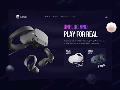 VR Headset eCommerce Store Landing Page Design online store ecommerce userinterface website designer website design ui design vr design vr user interaction user experience landing page ui animation landing page ecommerce landing page ecommerce shop virtual reality