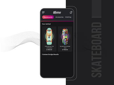 Skateboard and Accessories Online Store ui designer design app concept app designer dribbblers dribbble app development uiux design ux ui user experience design user experience app designers app design skateboardapp skateboarding skateboards