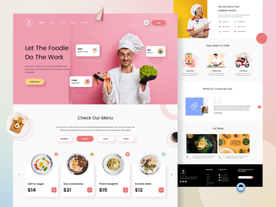 Hire Cook Landing Page Design tasty ux startup food cooking delicious chef service web user experience user interface ui designers ui ux design ui kitchen web design landing page design landing page cook