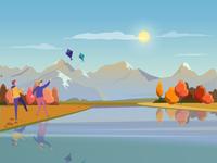 Uttarayan Kites Flying Festival - Illustration