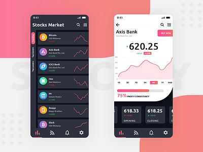 Stock Market App UI creative creation simple stock exchange stock market app concept app development app app design dribbble design ux ui