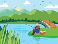 Fisher Man Illustration