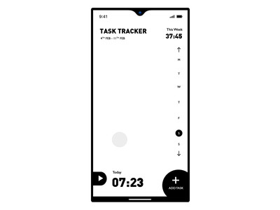 Task Management App | Monochrome Design Challenge Winner iphone android task list app ui app ux ux ui design ux designer animation design app concept app design app development animation app animations black  white monochromatic monochrome task management task app design ui
