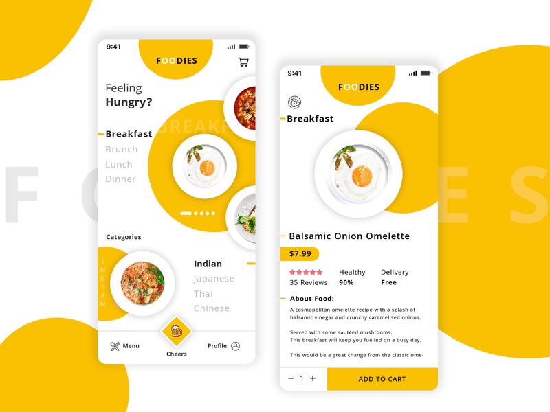 Food App UI | Foodies app designers app branding ui deisgn ui designers ui pack breakfast hungry white background yellow omelette food app ui food app app concept ux app development app design app design ui