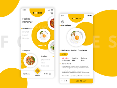 Food App UI | Foodies app designers app branding ui deisgn ui designers ui pack breakfast hungry white background yellow omelette food app ui food app app concept ux app development app design app design ui