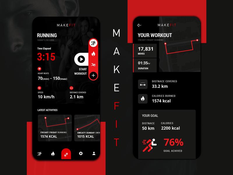 Make Fit | Fitness Application UI walk calories burned exercises workout app workout ui designers india ui designer app development dribbble design ui track fitness app designers app designer app design fitness app fitness