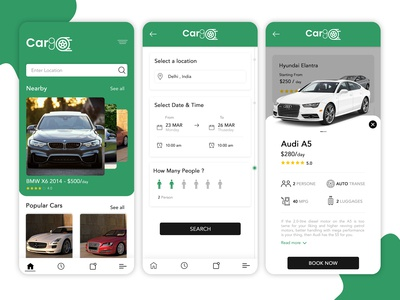 Car Rental App UI Concept