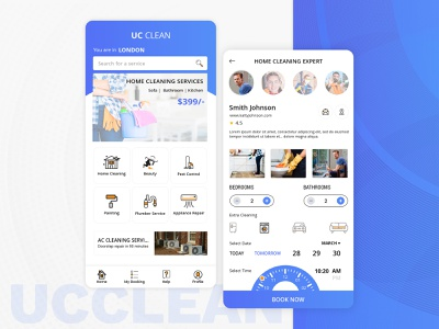 Home Cleaning & Repair Service App ux  ui app designer plumber bathroom bedroom cleaner clean app landing clean app design app design ui pest control painting beauty app repairing house home cleaning services cleaning