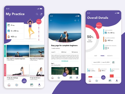 Yoga App UI design agency relaxation intermediate beginner calories illustration art mobile app development company fitness ui ux user appdesigner app design yoga app yoga pose yoga