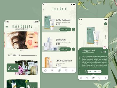 Cosmetic eCommerce App UI natural herbal green ecommerce shop cream facial beauty care usa india app designer ecommerce business ecommerce design skin care cosmetic app concept app development app design design ui