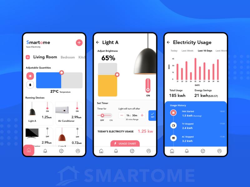 Smart Home App UI devices living room dashboard design dashboard lamp automation lights house smart home smart app app concept app app development app design design ui