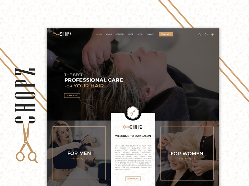 Salon Single Page Website beauty care women men hair cut php magento 2 wordpress development ux ui design website design home page website banner beauty salon design salon hair salon hair care single page website