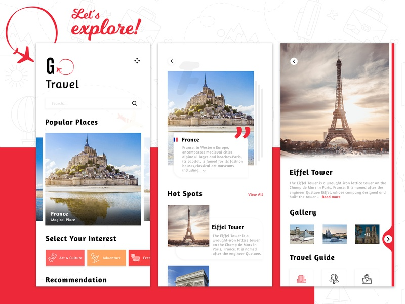 Travel Guide App adobe photoshop world france eiffel tower iphone app android app design travel blog travel places traveling app designer app design travel ui design illustraor illustration art uidesign travel app