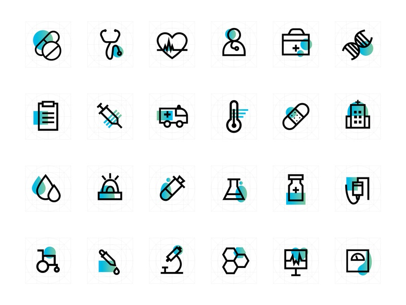 Medical Icons medicines bandage design company design art ui designer uidesign medicine doctor stethoscope medical app medication medical icon design icons set icons pack icons design icons icon set logo ui