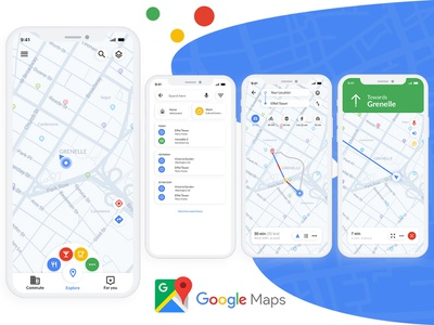 Google Map App Redesign cafe restaurant app app designer ui designer ui design google nearby gps google maps maps photoshop redesign-tuesday redesign concept redesigned app concept app development app design design ui