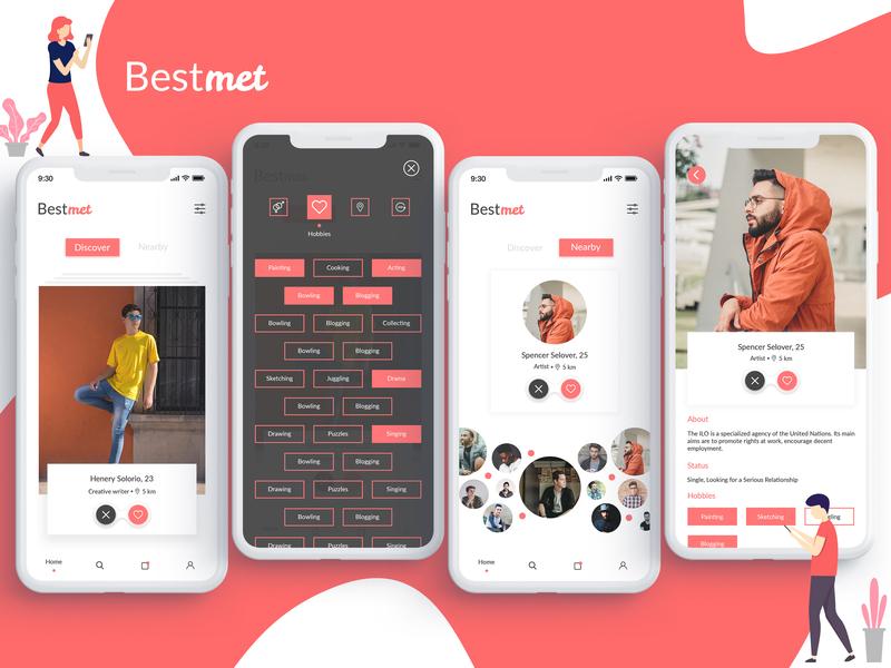 Dating App design company photoshop app designer ui design friend love match partner biography hobbies daily ui app idea app concept dating dating app ux app development app design design ui