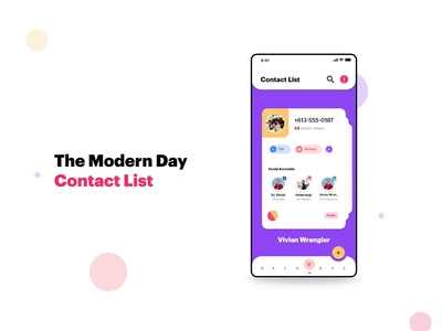 Modern Day Contact List View social media stacks ui  ux adobe xd phone number android app material ui material design contact view contact list contacts app designers animation design app concept app ux app development app design design ui