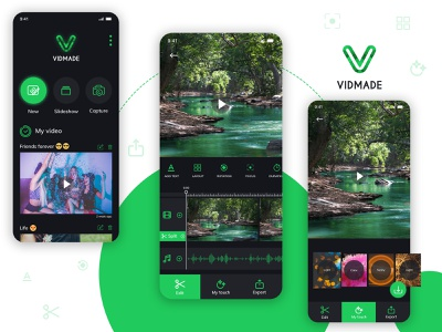 Video Editing App app development company app concept films adobe photoshop app designers black green iphone app android app editing video editor creation video editing video app ux app development app design design ui