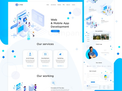 Web and App Development Company Design homepage landing page photoshop designer blue monochrome ux design ui design web development company india mobile app development company website design website design ui