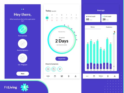 Period Tracker App mobile app development company app ui ui designer iphone app android app photoshop tracking app pregnancy periods womens woman cycle app designer app concept app ux app development app design design ui