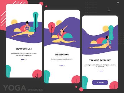 Yoga Onbording App yoga pose ux adobe photoshop workout app exercise character design yoga app app development app design onboarding illustration design illustration art ui