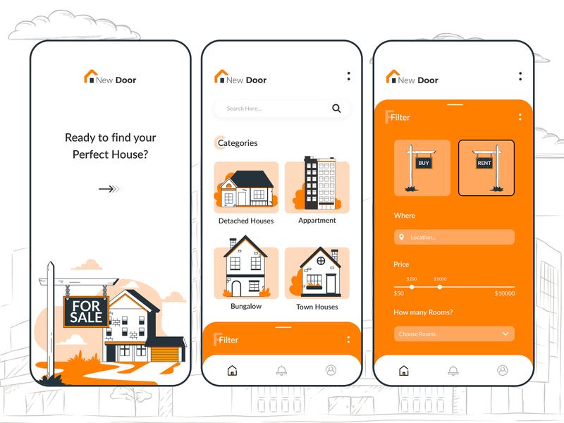 Home Search App app designer india app development company icons design house ux app concept app development app design real estate app rent home buy online real estate ui