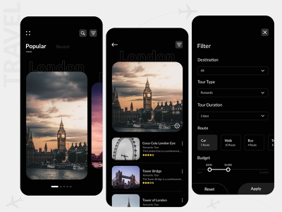 Travel Itinerary Application tourism tour london photoshop vacations traveling travel app app designer ux app concept app development app design design ui