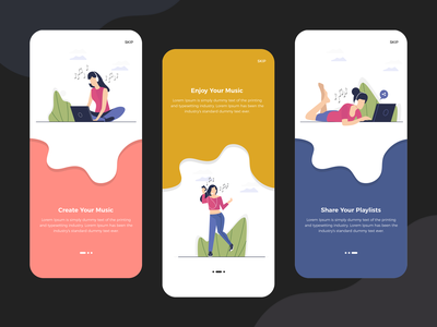 Onboarding Music App Screens ui designer india web design company mobile app design onboarding screen onboarding illustration onboarding photoshop app designer app concept app development app design design ui