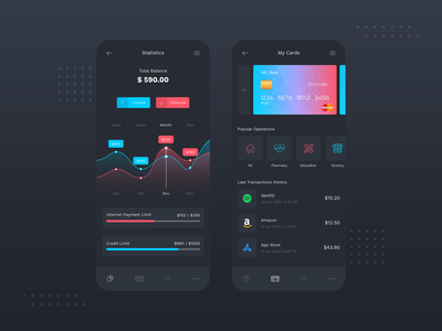 Banking App Dark Mode UI
