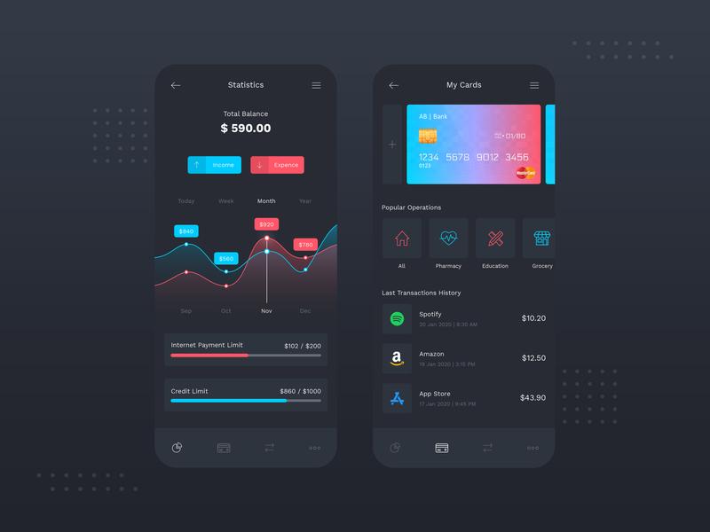 Banking App Dark Mode UI money transfer bank card send money finance app transactions statistic dark mode dark ui banking app app designer app concept app development app design design ui