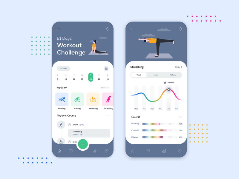 Workout Challenge App Design workout tracker workout app fitness app mobile app design illustration animation photoshop dribbble app designer ux app concept app development app design design ui