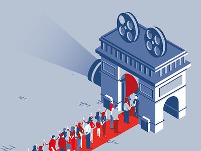 French do it better cinema magazine illustration arc de triomphe line film camera layout