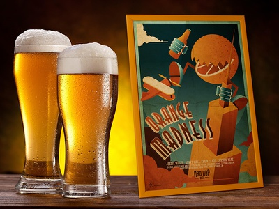 Orange Madness Beer Poster king kong movie photoshop design illustrator illustration graphic poster pub beers beer