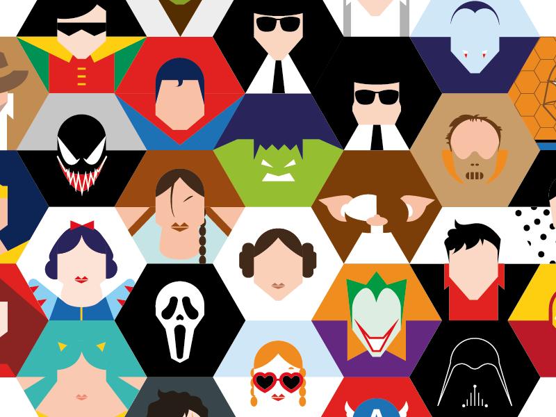 Guess Who? superhero minimal vector hexagon mudule comix film
