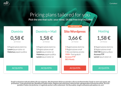 Pricing page - Pop.it pricing page pricing modern clean flat green hosting domain