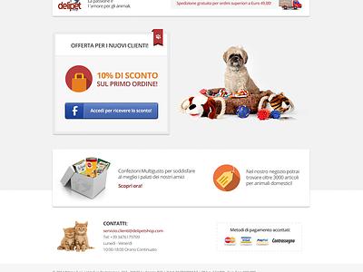 Delipetshop Landing Page landing page landing website web marketing flat clean pets advertising newsletter fresh