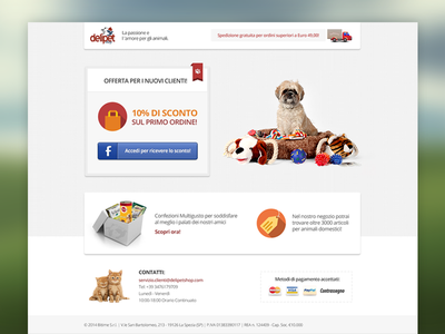 Delipetshop Landing Page landing page landing website web marketing flat clean pets advertising newsletter fresh