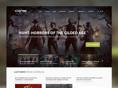 Crytek Homepage Design redesign modern videogame interface crytek homepage web design user interface mockup green clean game