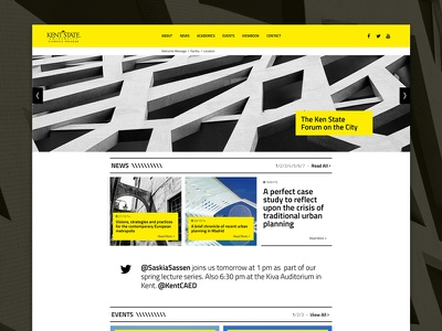 Kent State University Florence - Homepage layout template web website yellow minimal architecture user interface black university homepage