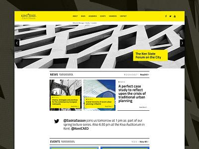 Kent State University Florence - Homepage layout template web website yellow minimal architecture user interface black university homepage