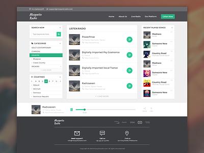 Online Radio Website - User Interface app modern radio clean flat white green user experience web radio user interface