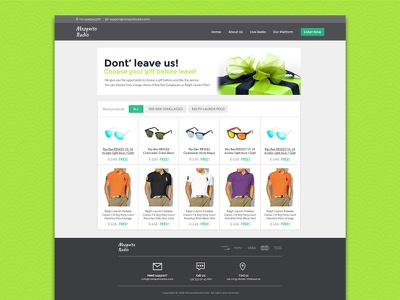 Online radio Unscribe Page blue white grey green flat minimal clean gift unscribe page shop page