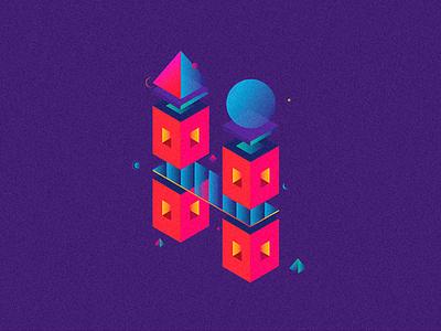 H perspective alphabets illustration design