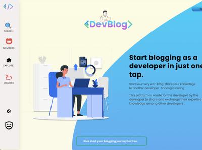 Dev Blog technology web design colorful illustration illustrator graphic design flat design webapps website concept website design webapp webdesign uxdesign uidesign blogging