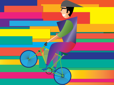 Wheelie after effect illustration jump cycle cycling colorful animation