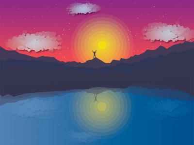 Journey to the horizon horizon space graphic design illustration water nature sunset travel